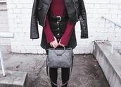 kristina magdalina,blogger,sweater,skirt,belt,bag,shoes,grey bag,button up denim skirt,black leather jacket