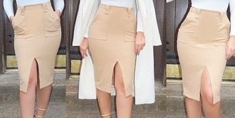 skirt midi skirt beige skirt pocket pockets bodycon