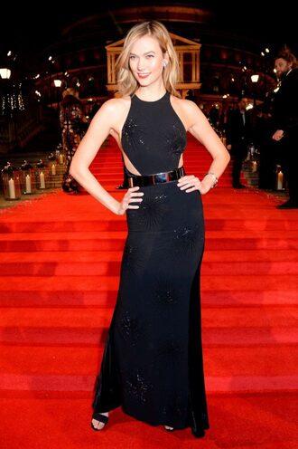 dress gown black dress prom dress karlie kloss model off-duty red carpet dress