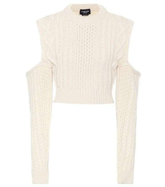 sweater cropped sweater cropped wool white