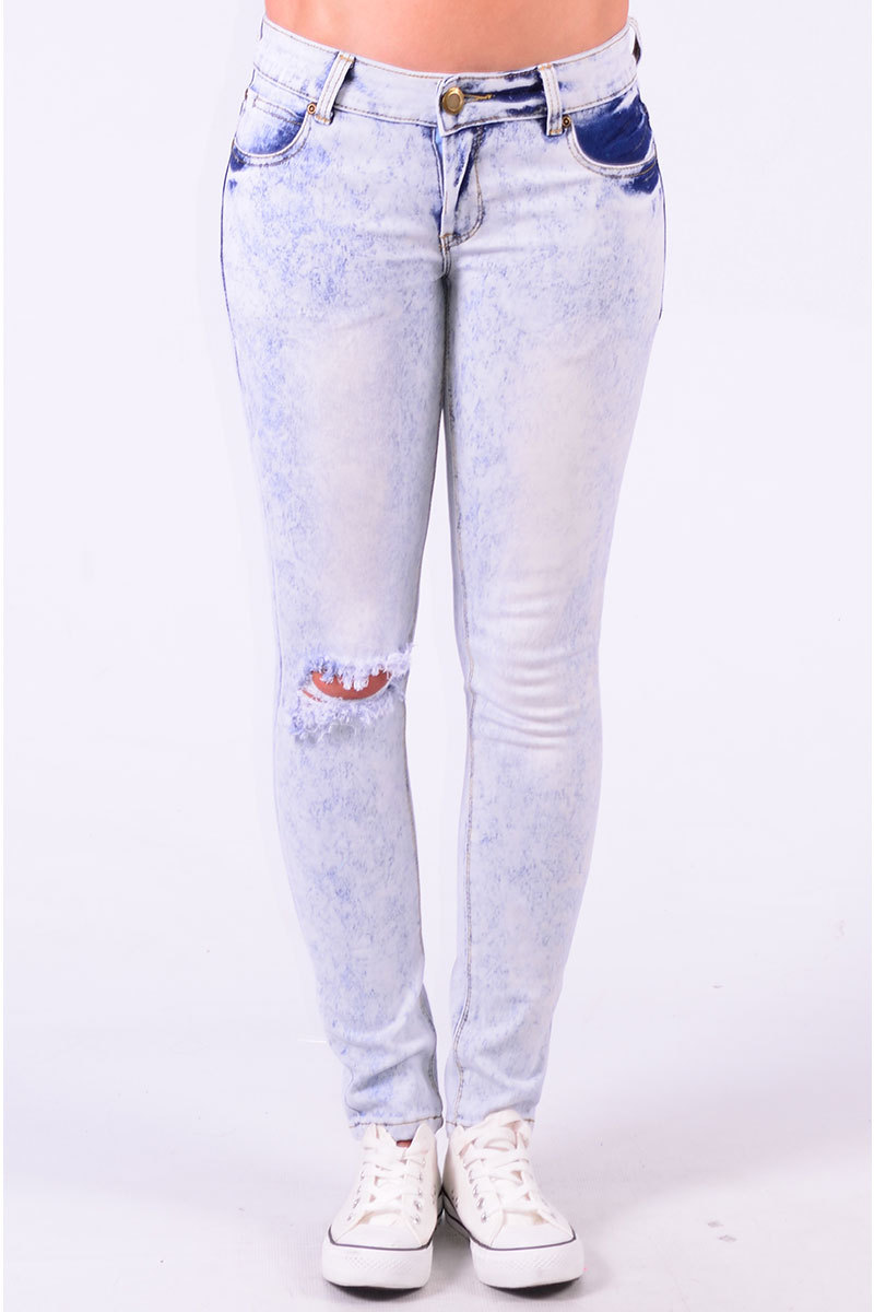 Sitara Bleached Distressed Jeans In Sky Blue