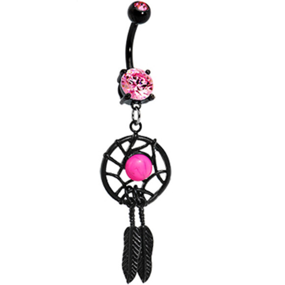 jewels feather pink dreamcatcher bellybutton ring black stoned