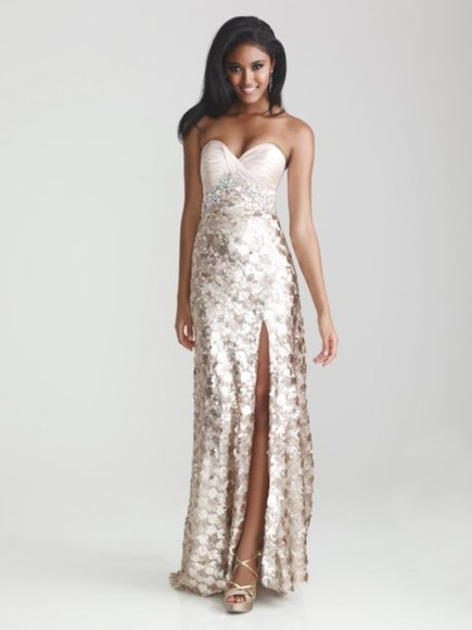 dress strapless prom dress bronze glitter dress