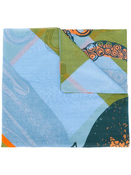 Odeeh women scarf cotton print blue silk