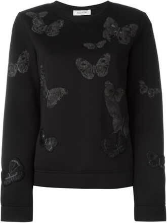 sweatshirt embroidered butterfly black sweater