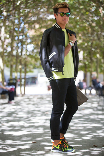 alexander liang blogger jacket t-shirt jeans shoes jewels sunglasses menswear leather jacket