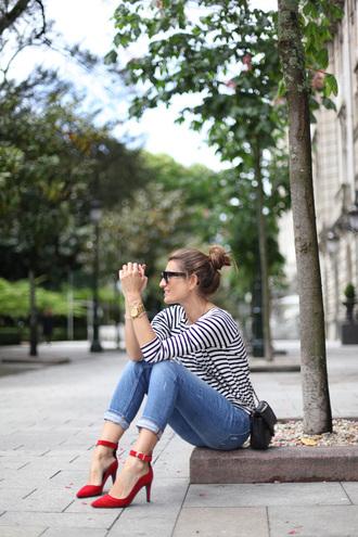 b a r t a b a c blogger striped top red heels