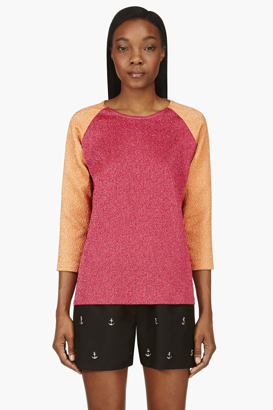 roseanna fuchsia and orange colorblocked sparkle top