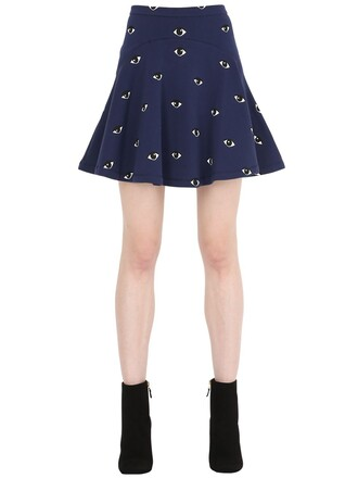skirt flare eyes cotton navy
