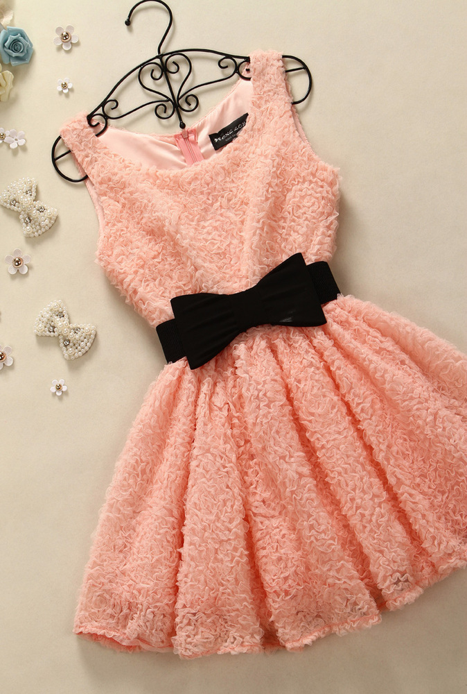 SWEET AND PURE AND FRESH LACE OVERLAY BOWKNOT ACCEPT WAIST SKIRT VEST DRESS / melodyclothing