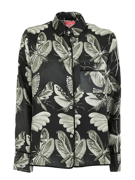 shirt insects print black top