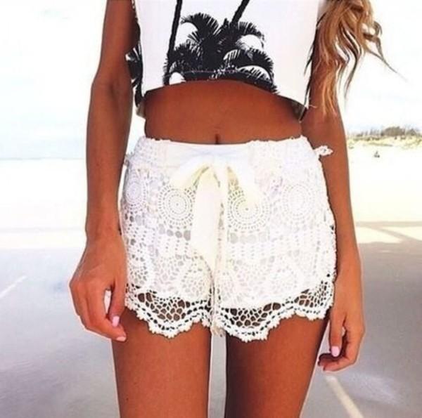 shorts lace cute shirt t-shirt white