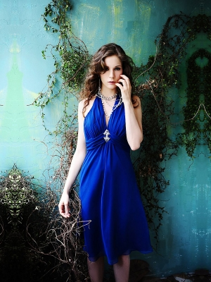 Buy Charming Royal Blue A-line Halter Knee Length Prom Dress with 99.99-SinoAnt.com