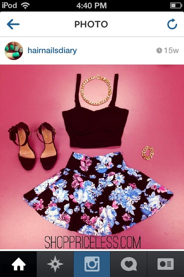 skirt jewels shoes blouse