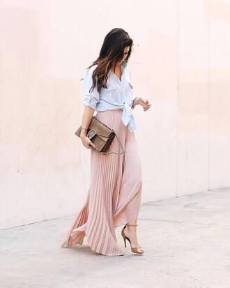 skirt tumblr maxi skirt pink skirt pleated pleated skirt shirt blue shirt bag gucci gucci bag sandals sandal heels high heel sandals shoes