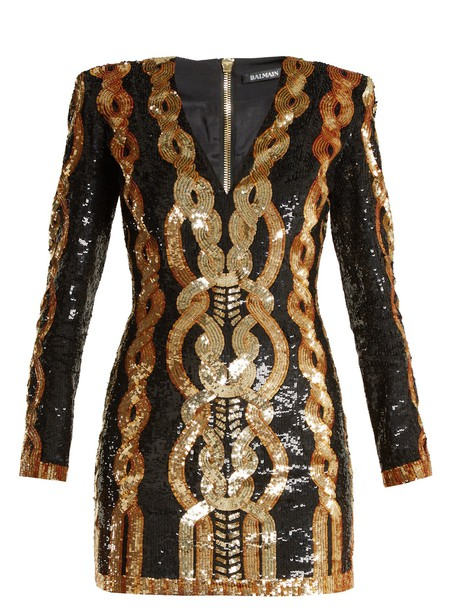 Balmain dress mini dress mini embellished gold black