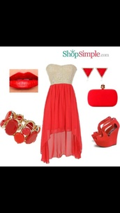 dress,maxi dress,high heels,necklace,earrings,red,white,bag,bracelets,red lipstick,lipstick,red dress,shoes,jewels
