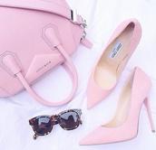 shoes,high heel,heel,pink heel,pink high heel,pink shoes,bag,sunglasses,pink,givenchy,jimmy choo,glasses,pink bag,fashionlovers,thestylegenerator,high heels,pink high heels