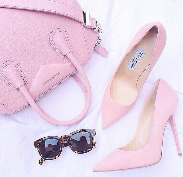 shoes high heel heel pink heel pink high heel pink shoes bag sunglasses pink givenchy jimmy choo glasses pink bag fashionlovers thestylegenerator high heels pink high heels