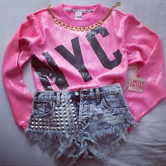 sequin shirt shirt pink black sequins new york city studded shorts