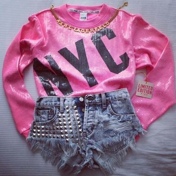 sequin shirt shirt sequins pink black nyc studded shorts
