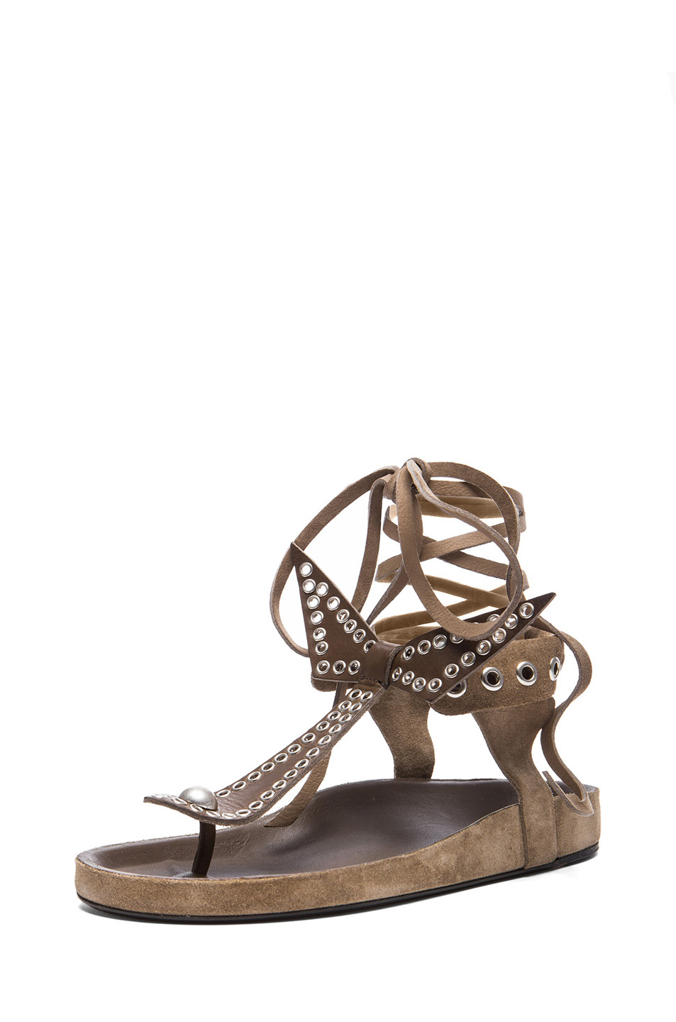 Isabel Marant | Edris Calfskin Velvet Leather Sandals in Khaki