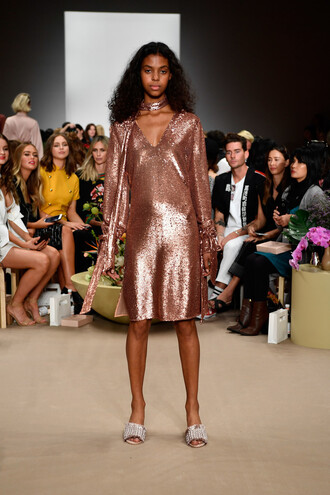 dress sequins sequin dress midi dress sydney fashion week fashion week runway model c/meo collective