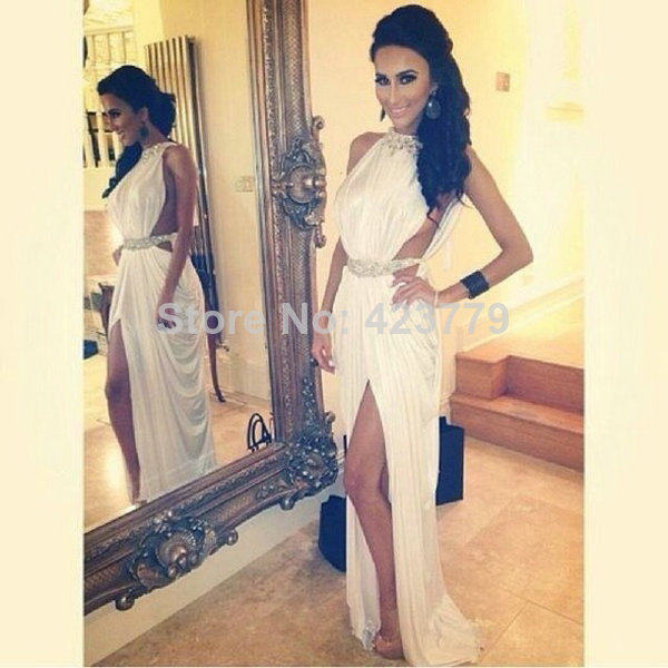 Aliexpress.com : Buy Hot & Sexy Sleeveless Celebrity Party Dresses Custom Made White Halter Side Slit Beaded Long Prom Dresses from Reliable dress long sleeve tunic dress suppliers on 27 Dress