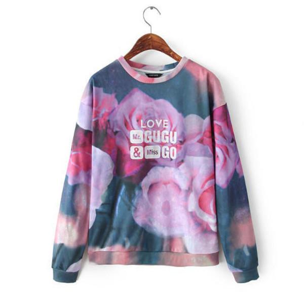 sweatshirt roses violet purple floral sweater