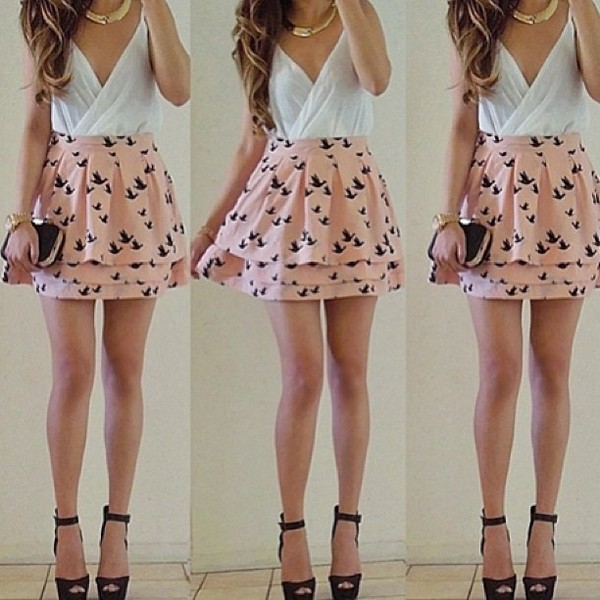 dress dress clothes skirt bag shoes pink birds jupe romantic ruffle skirt white bords summer dress pretty pink dress shirt jewels t-shirt