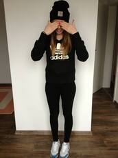 adidas,black,hat,sports sweater,sweater