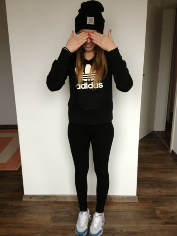 adidas black hat sports sweater sweater jacket sweatshirt adidas black sweater adidas sweater underwear