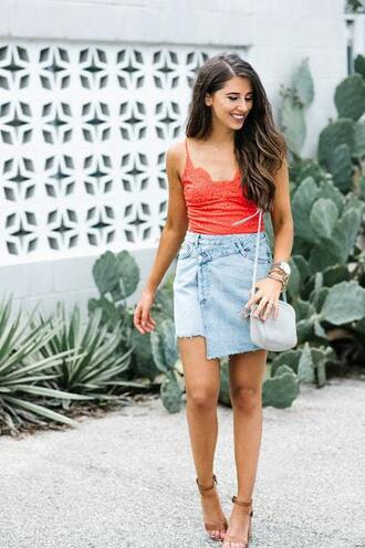 skirt blogger blogger style denim skirt mini skirt red lace top clutch camisole crossbody bag sandals