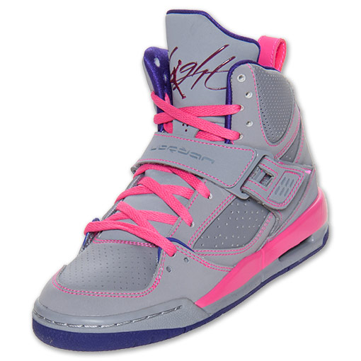 Girls' Jordan Grade School Flight 45 High Basketball Shoes | FinishLine.com | Pink Foil/Cement Grey/Raspberry