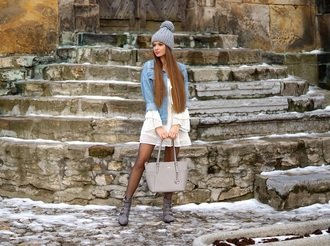 only my fashion style blogger jacket dress shoes bag winter outfits beanie denim jacket ankle boots