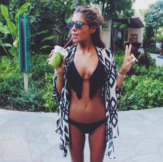 swimwear black bikini bikini coat on point clothing two-piece fringe bikini fringes beach travel summer summer outfits kimono aztec sunglasses cute girly women gorgeous fashionista girl boho boho chic cardigan black bkini zwart