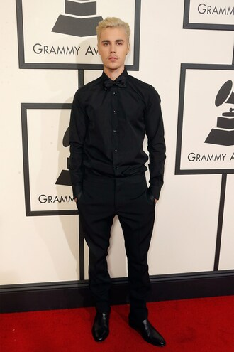 pants shirt all black everything menswear mens shirt mens suit justin bieber grammys 2016