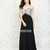 Chic Strapless Beaded Bodice Black chiffon Prom Dress PD11787 Sale Online