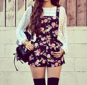shorts,overalls,sweater,roses,tights,jumpsuit,floral,girly,pink and black,cute