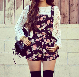shorts overalls sweater roses tights jumpsuit floral girly pink and black cute