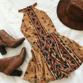 dress,tribal pattern,yellow dress,boho,bohemian dress,floral boho dress,bohemian,boots,hat,summer,floral,mustard,yellow,mustard yellow dress