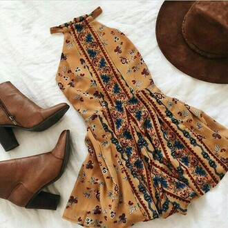 dress tribal pattern yellow dress boho