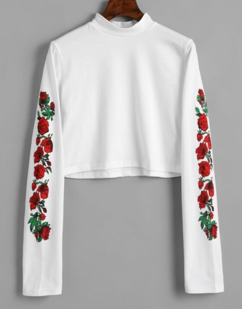 blouse embroidered girly white white top crop tops crop cropped long sleeves floral flowers rose roses