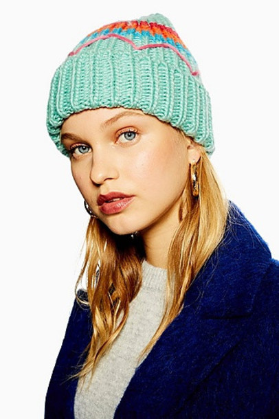 TopShop Embroidered Retro Beanie - Mint