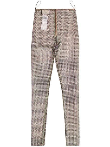 leggings women spandex net grey metallic pants