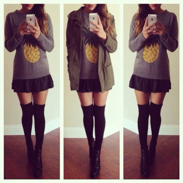 jacket t-shirt skirt