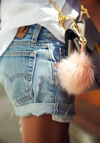 jewels fur keychain keychain faux fur light pink