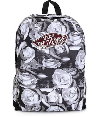 bag vans backpack vans of the wall black and white roses rose