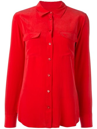 shirt women silk red top