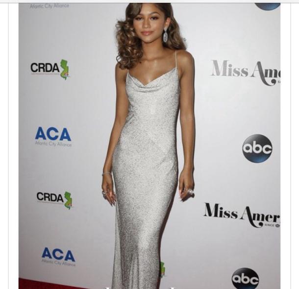 Dress: zendaya, silver, michael kors, glitter, sequin dress, prom ...
